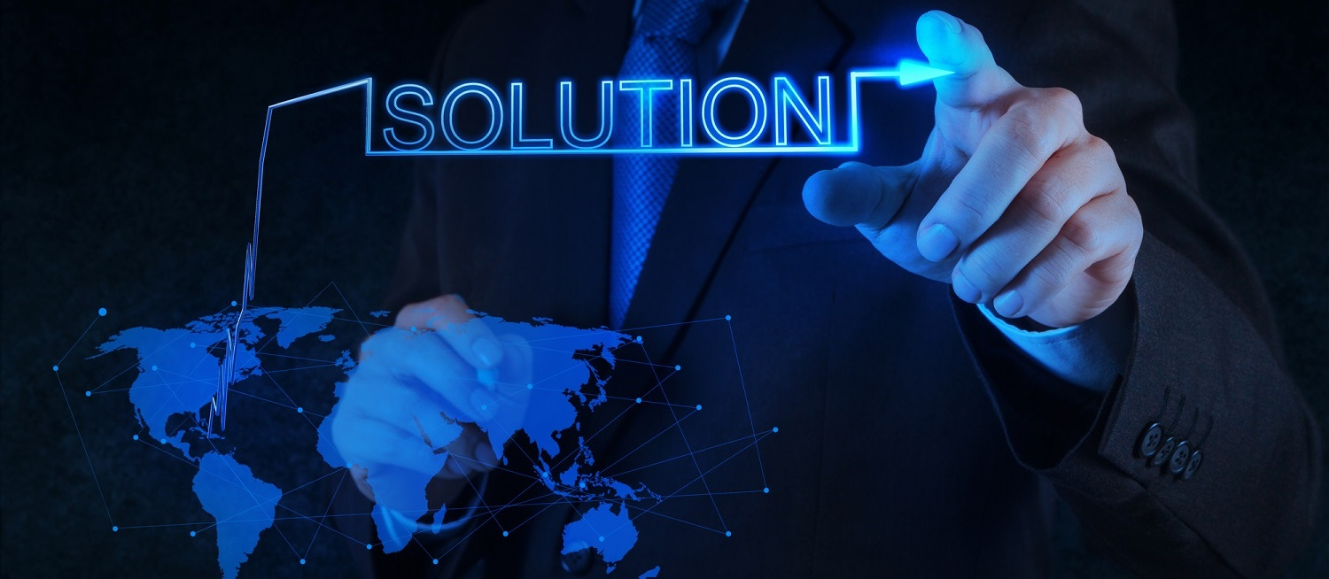 businessman hand pushing solution graph on a touch screen interface